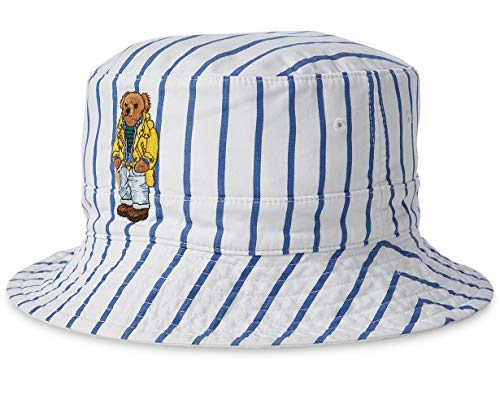 Polo Ralph Lauren Print Reversible Bucket Hat (Small/Medium, Blue(4001)/White Stripe)