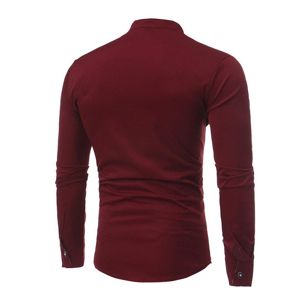 Hombre blusa manga larga Otoño,Sonnena ❤ Camisas para hombres Slim Solid Color Camiseta de manga larga casual de verano Blusa casual: Amazon.es: Hogar