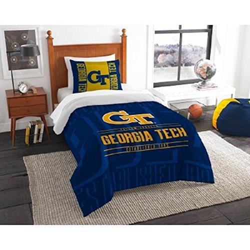 2 Piece NCAA Georgia Tech Yellow Jackets Comforter Twin Set, Sports Patterned Bedding, Featuring Team Logo, Fan Merchandise, Team Spirit, College FootBall Themed, Blue Yellow, For Unisex