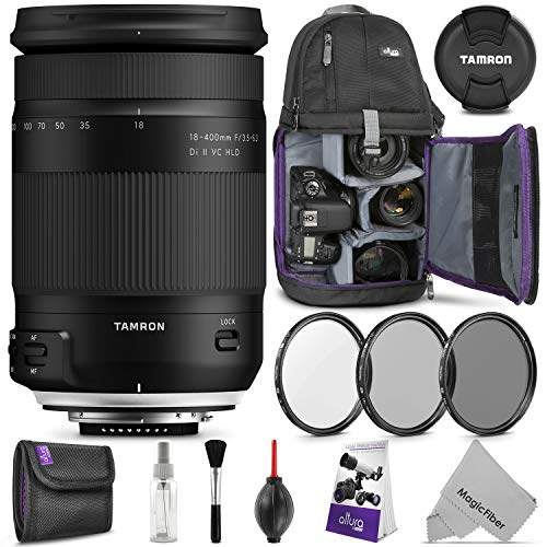 Tamron 18-400mm f/3.5-6.3 Di II VC HLD Lens for Nikon F w/Advanced Photo and Travel Bundle (Tamron 6 Year Limited USA Warranty)