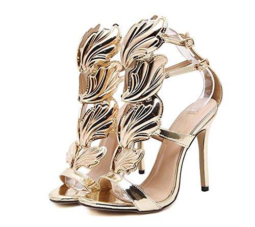 Sandalias de Tacón Alto para Mujer Sandalias de Punta Abierta Alas de Metal Zapatos Respirables Negro/Dorado/Nude Talla 35-40 Oro