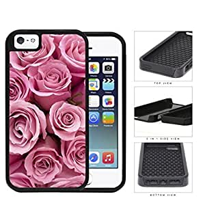 Bunch Of Pink Rose Flowers 2-Piece Dual Layer High Impact Rubber Silicone Cell Phone Case Apple iPhone 5 5s