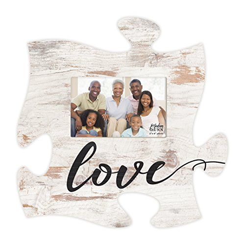 White Photo Plaque - Love Script Design White Distressed Wood Look 4 x 6 Wood Puzzle Wall Plaque Photo Frame