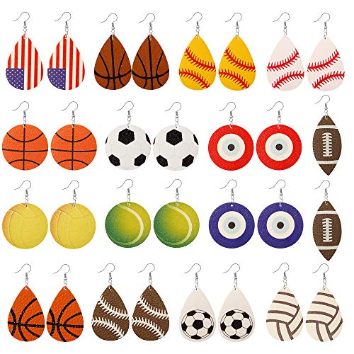15 Pairs Petal Leather Earrings Antique Looking Faux Leather Teardrop Long Dangle Earrings Lightweight Leaf Red Yellow Handmade Floral Rainbow Print Drop Earrings Gift For Teens Girls Women (4#) ()