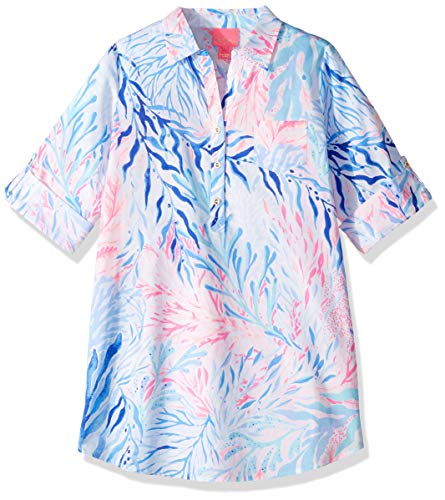 Lilly Pulitzer Girls' Little Mini Natalie Cover UP, Crew Blue Tint Kaleidoscope Coral, XL