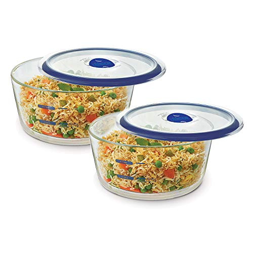 Décor Fitness Freak Microwave Safe Round Glass Containers with Nutri Measure Marking & Microwave Safe Air Vent Lids – 1…