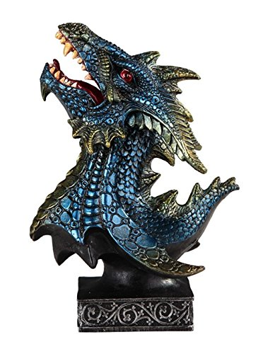 Blue and Green Dragon Head and Bust Statue Figurine 716607