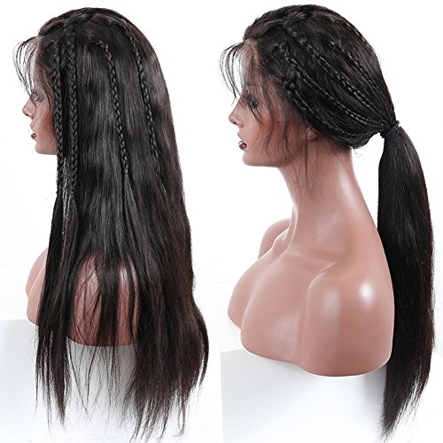 Price comparison product image 360 Lace Frontal Wigs Brazilian Straight Human Hair Wig Pre Plucked With Baby Hair 130-150% Density Lace Front Human Virgin Remy Hair Wigs For Black Women Natural Color Alot (20 inches)