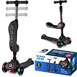 Scooter For Kids with Folding Seat – 2-in-1 Adjustable 3 Wheel Kick Scooter for Toddlers Girls & Boys – Fun Outdoor Toys for Kids Fitness, Outside Games, Kid Activities – Boy & Girl Toys (Gray)