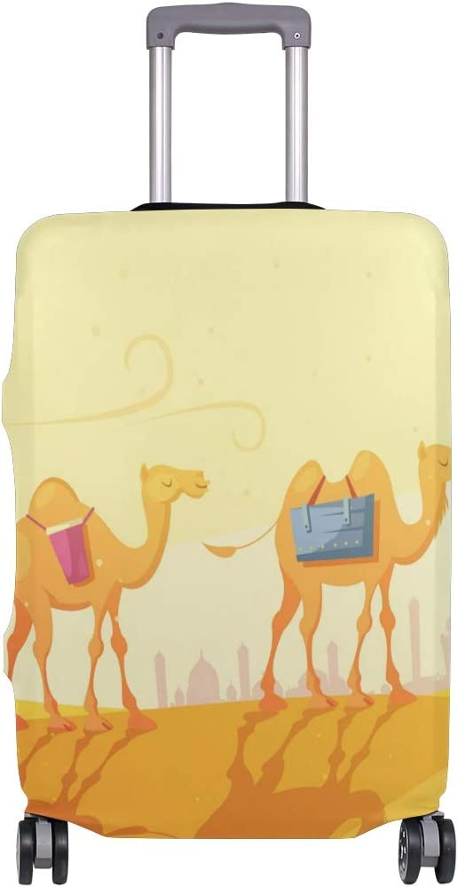 Cute Camels In Desert Print Luggage Protector Travel Luggage Cover Trolley Case Protective Cover Fits 18-32 Inch