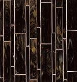 Bedrosians GLSRETMAHLMP ''Retrospect'' Mosaic with Linear Pattern, 12'' x 11.50'', Mahogany Blend