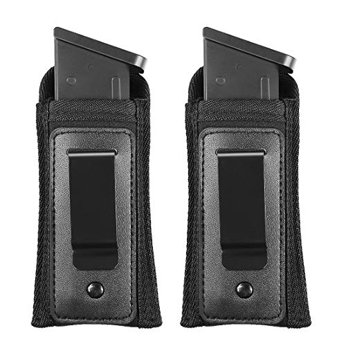 Marmot Magazine Holster IWB Inside Waistband Handgun Ammo Pouch Concealed Carry Single & Double Mag Pouch fits Any 7 10 15 Round Clips for All Pistol - 2 Pack