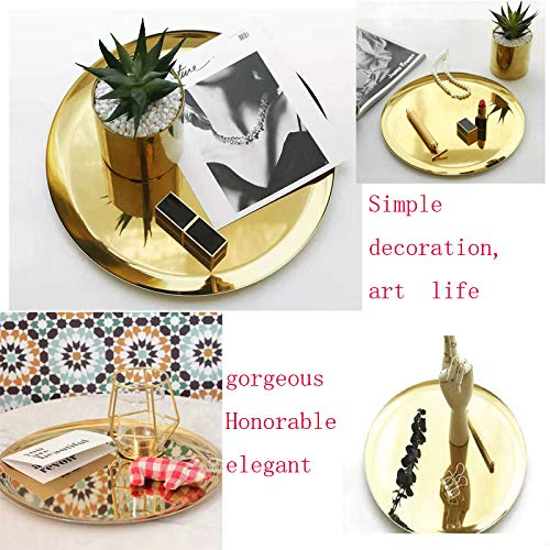 boweiwj Dinner Plates Serving Tray Stainless Steel Tray Golden Plate Cosmetics Jewelry Organizer Towel Tray Storage Tray Dish Tray Tea Tray Fruit Trays (11In Gold Round Tray) ... by boweiwj (Image #2)
