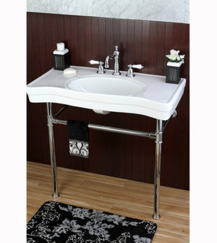 36 Inch Wall Mount Chrome Pedestal Vintage Bathroom Sink Vanity ...