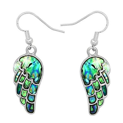 (Liavy's Angel Wings Fashionable Earrings - Abalone Paua Shell - Fish Hook - Unique Gift and Souvenir)