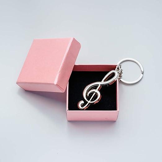 Amazon com: EMANFED Silver Metal Musical Note Key chain