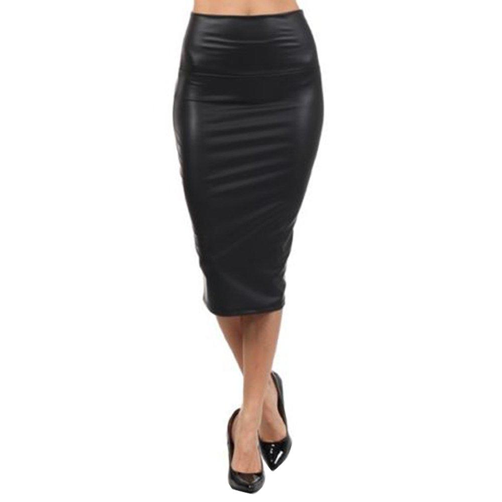 Queenfashion Womens Below Knee Stretch Skinny Faux Leather Pencil Mini Skirts
