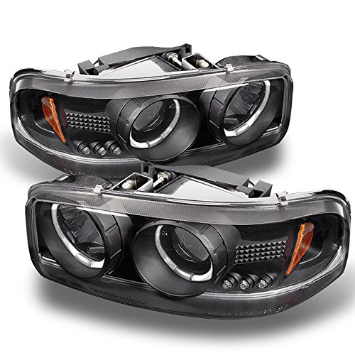 For GMC Sierra Yukon Denali Pickup Black Halo Ring LED Projector Replacement Headlights Left/Right Lamps