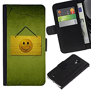 Ihec-Tech / Flip PU Cuero Cover Case para Samsung Galaxy S4 Mini i9190 MINI VERSION! - Hapy Smiley Area