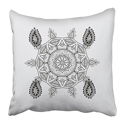 Emvency Throw Pillow Cover Square 18x18 Inches Black 2018 Abstract Mandala Whimsical Snowflake Line Design Cute Snowflakes on Colorful Gray 2019 Polyester Decor Hidden Zipper Print On (Spring Coloring Pages To Print)
