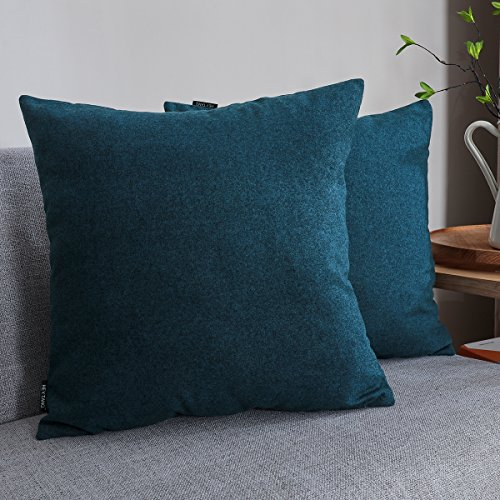 Pillow Fabric Cotton (Hey Tang Pack of 2, Cotton Linen Soft Soild Decorative Square Throw Pillow Covers Set Cushion Case for Sofa Bedroom Car 18 x 18 Inch 45 x 45 Cm,Navy Blue)
