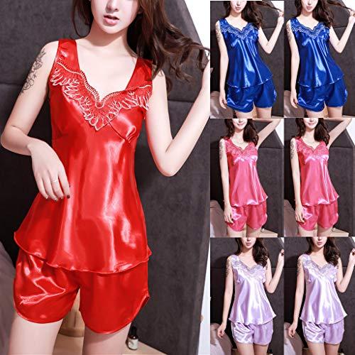 Ensemble ihengh De Femmes Lingerie Sexy Manches vêtements Sans En Femme Sous Bleu Nuit Satin Pyjama 5xqSPwxY