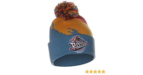 0a09c7d140fa1b ... get amazon detroit pistons mitchell ness nba paintbrush cuffed pom knit  hat sports outdoors f38b8 0301d