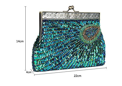 Color Purse Clutch Bag Evening Silver Sequin Rose Beaded Women JESSIEKERVIN Peacock gnxWq78wX