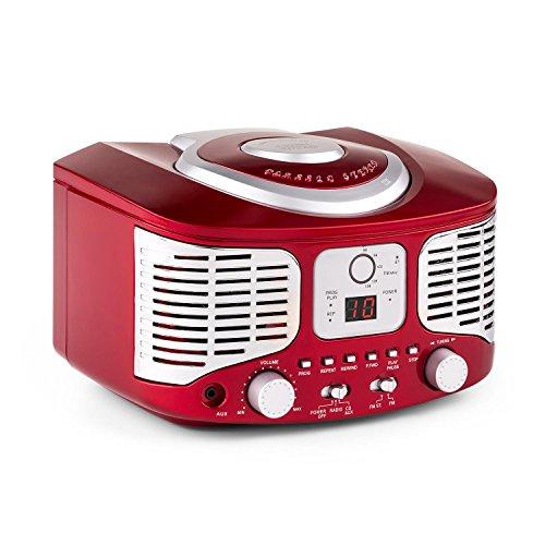 auna RCD320 Stereoanlage Retro Küchenradio mit CD Player (Radio-Tuner, AUX, Digital-Anzeige, Wiedergabeprogrammierung) rot