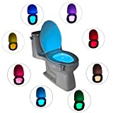 Motion Activated Toilet Nightlight LED Toilet Night Light,Toilet Bowl Light, Motion Sensing Night Light Toilet Lamp- 8 Colors