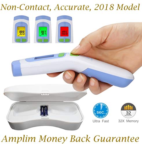 (Hospital Medical Grade No Touch Non Contact Digital Infrared Temporal Forehead Thermometer + Case for Baby/Adult/Kid/Toddler/Infant/Nurse. Amplim Best Head Fever Temperature Termometro)