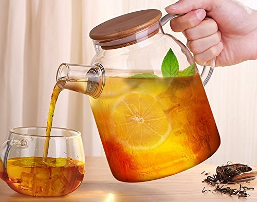 Tealyra glass kettle pitcher heat resistant glass no dripping tea juice water hot - Heat resistant glass pitcher ...