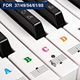 Piano Stickers for Keys, Removable Keyboard Stickers for 37/49/54/61/88 Key Piano Full Set Kids and Beginners Learning Piano, with Note Labels Instruction Stickers, Multi Color