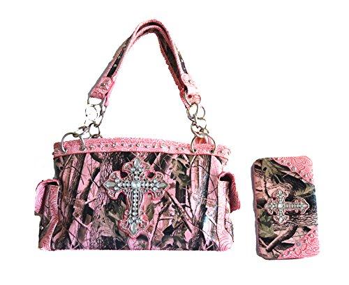 camo mossy oak pink rhinestone cross purse set wallet (light pink) Rhinestone Accented Handbag Purse