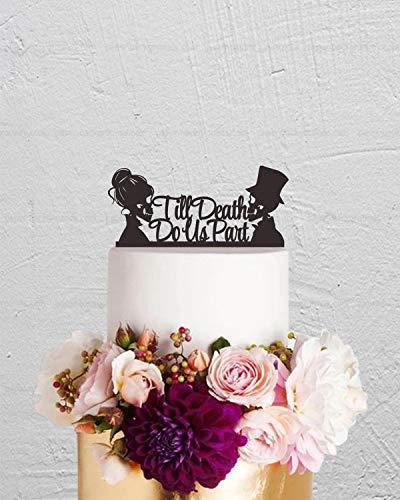 gdrthgtrht Skull Cake Topper,Wedding Cake Topper,Till Death Do Us Part Cake Topper,Custom Cake Topper,Skeleton Cake Topper,Halloween Topper