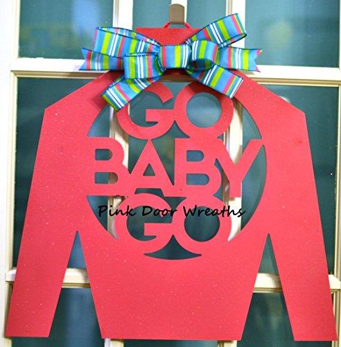 Kentucky Derby Jockey Silk Go Baby Go Door Hanger With Bow