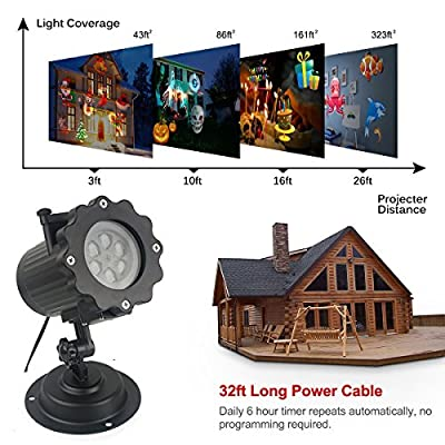 Led Christmas Light Projector with 16 Slides, Takihoo Upgrade Led Landscape Spotlight Holiday Projector Lamp Waterproof for Xmas, Halloween, Parties, Landscape Garden Decoration Outdoor Indoor, Black