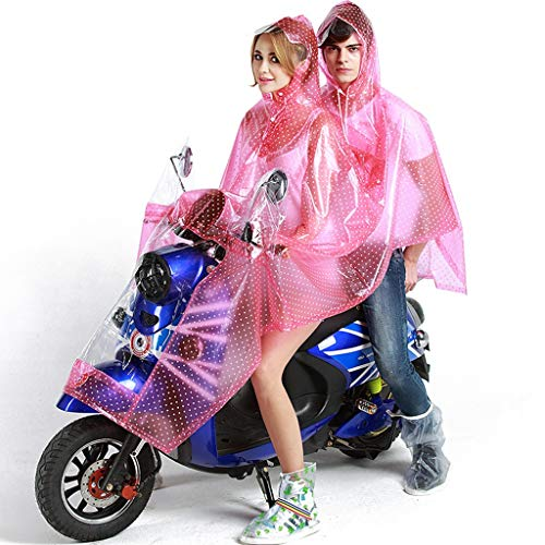 LGIZW 2-Person Raincoat, Transparent Cycling Fashion Adult Poncho,  Lightweight Portable Casual Outdoor Waterproof Jacket (Color : Pink)