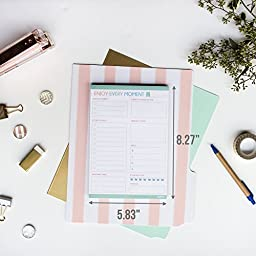 ENJOY EVERY MOMENT - Daily To Do List Notepad with a Magnet - 80 Tear off A5 Size Sticky Notes (5.83\