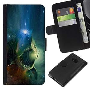 NEECELL GIFT forCITY // Billetera de cuero Caso Cubierta de protección Carcasa / Leather Wallet Case for HTC One M7 // Espacio cráneo Fish