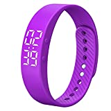 Smart Wristband Non-Bluetooth Pedometer Bracelet Fitness Tracker Smart Watch with Timer Vibration Alarm Step Calories Counter Distance Time Date for Walk for Kids[Upgrade Version] (Purple)