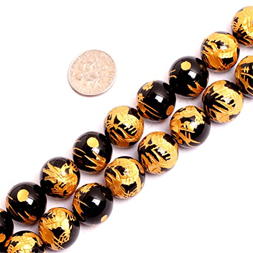 Semi Agate Precious - JOE FOREMAN 12mm Black Agate Semi Precious Gemstone Round Loose Beads for Jewelry Making DIY Handmade Craft Supplies 15