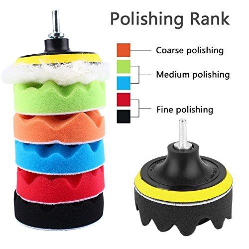Yosoo Buffing Pads Polishing Pads, 7 Pcs Waxing Sponge Pads Kit Car Polisher with M14 Drill Adapter (7 Inch) by Yosoo (Image #2)'
