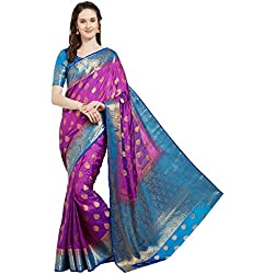 Viva N Diva Saree for Women's Dark Purple Banarasi Art Silk (Two Tone Art Silk) Saree with Un-Stiched Blouse Piece,Free Size