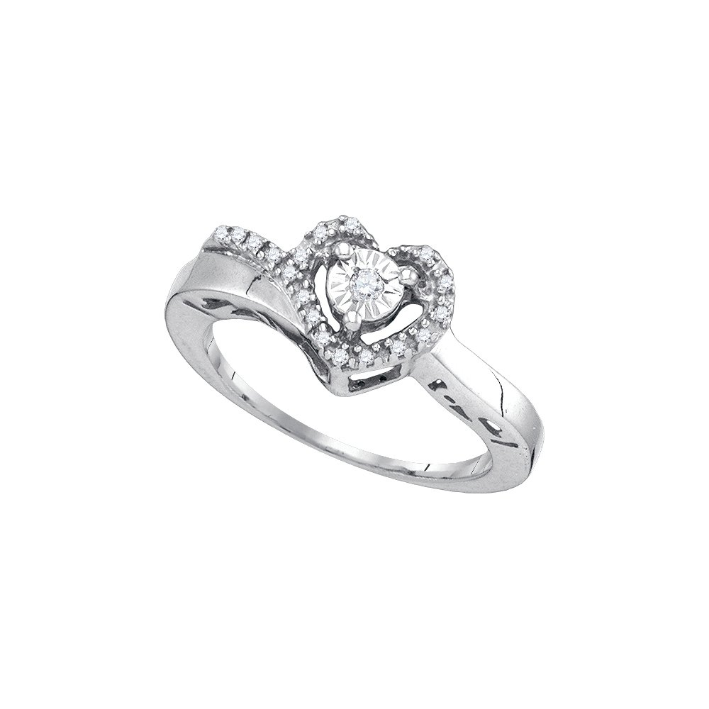 Sterling Silver Womens Round Diamond Heart Love Promise Ring 1/10 Cttw (I2-I3 clarity; J-K color)