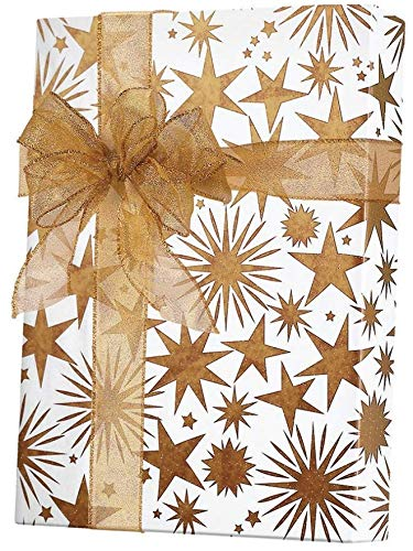 GOLD & COPPER STARS Christmas Holiday Gift Wrap Paper - 15 F