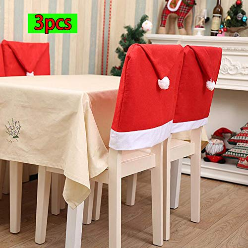HHmei 3pcs Home Party Decoration Santa Claus Christmas Red Hat Dining Room Chair Cover Decorations Outdoor Tree Table Lights Blue Home Set Silver Wall Ornaments Place Card Holders Red