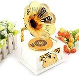 VPlus 1 PC Gramophone Music Box For Retro Phonograph Classic Music Box Gift Gold Trumpet Horn Creative Crafts Jewelry Box Decor(White/Brown)