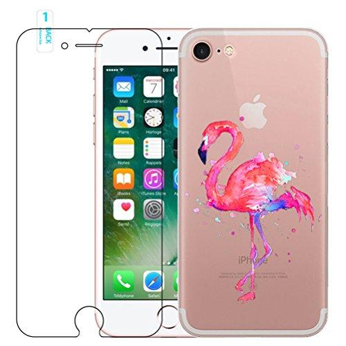 iPhone 5 / 5S / SE Flamingo Silicona Funda, con Protector de Pantalla de Vidrio Templado, Blossom01 Funda Gel Ultra Fina TPU de Silicona Suave con Dibujo Animado Lindo para iPhone SE / 5 / 5S #10