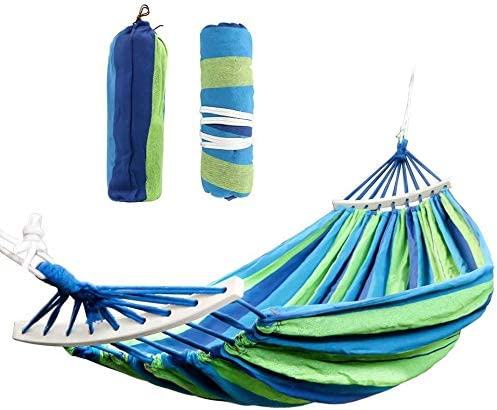Cotton Outdoor Hammock Swing – Flipcase Double Hammocks with Spreader Bar, Portable Camping Hammock for Patio Yard Garden Tree Beach